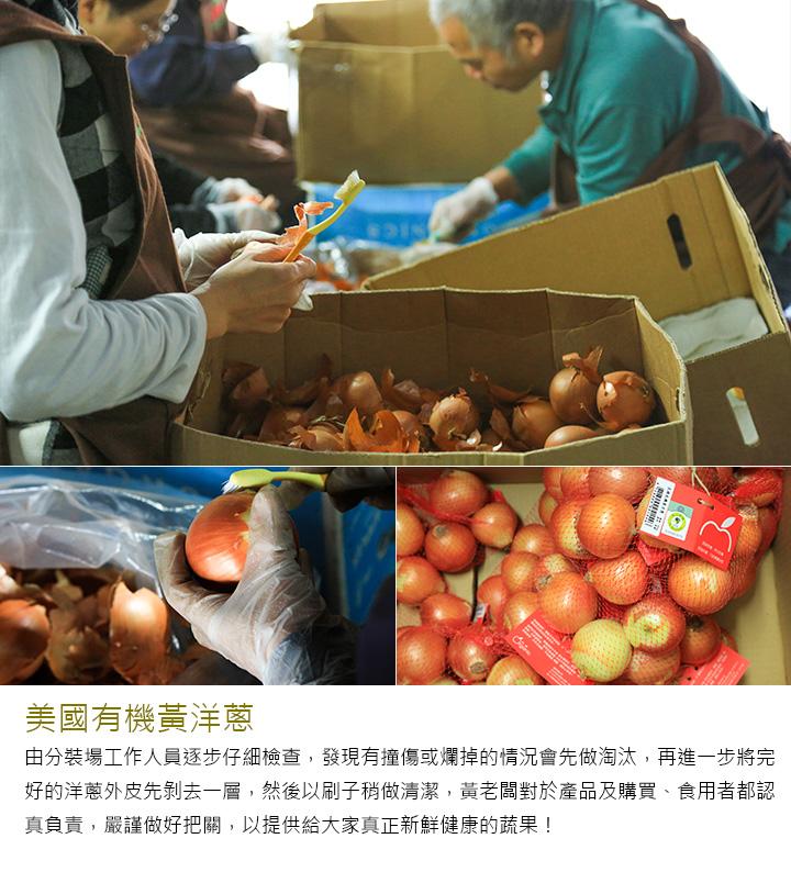 美國有機黃洋蔥 由分裝場工作人員逐步仔細檢查,發現有撞傷或爛掉的情況會先做淘汰,再進一步將完好的洋蔥外皮先剝去一層,然後以刷子稍做清潔,黃老闆對於產品及購買、食用者都認真負責,嚴謹做好把關,以提供給大家真正新鮮健康的蔬果!