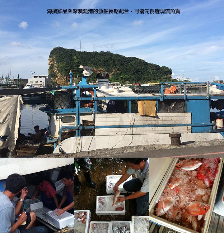 海撰鮮品與深澳漁港的漁船長期配合,可優先挑選現流魚貨